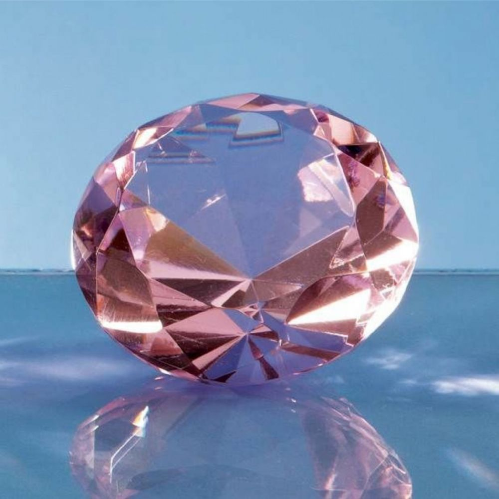 Personalised 80mm Pink Diamond Paperweight Engraved